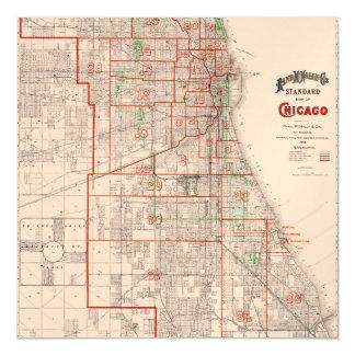 Vintage Old Map of Chicago - 1893 Magnetic Card