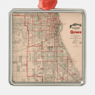 Vintage Old Map of Chicago - 1893 Metal Ornament
