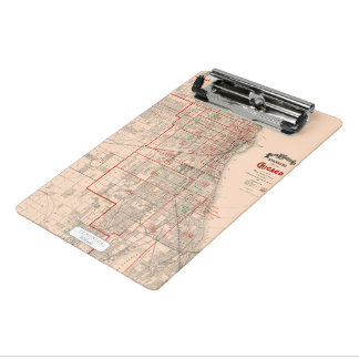 Vintage Old Map of Chicago - 1893 Mini Clipboard