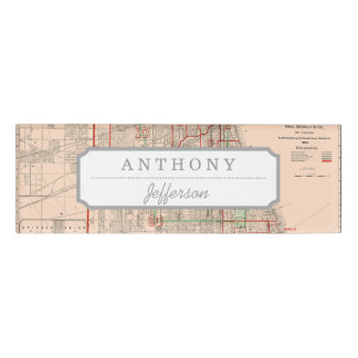 Vintage Old Map of Chicago - 1893 Name Tag