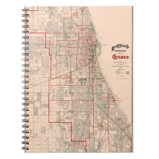 Vintage Old Map of Chicago - 1893 Notebook