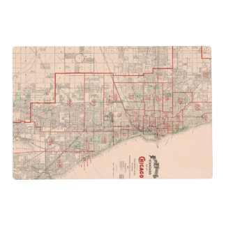 Vintage Old Map of Chicago - 1893 Placemat