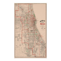 Vintage Old Map of Chicago - 1893 Poster