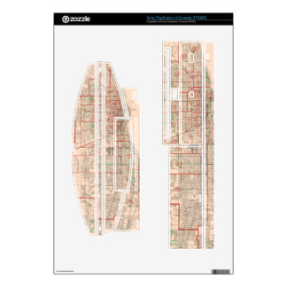 Vintage Old Map of Chicago - 1893 PS3 Console Decal