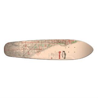 Vintage Old Map of Chicago - 1893 Skateboard