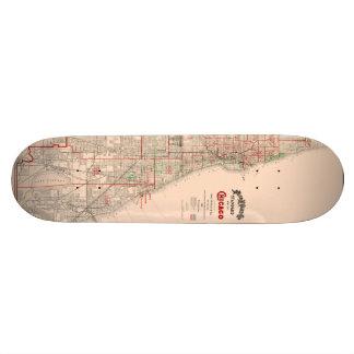 Vintage Old Map of Chicago - 1893 Skateboard Deck