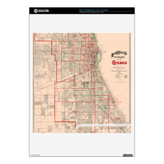 Vintage Old Map of Chicago - 1893 Skin For The PS3 Slim