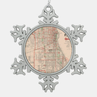 Vintage Old Map of Chicago - 1893 Snowflake Pewter Christmas Ornament