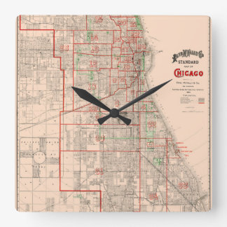 Vintage Old Map of Chicago - 1893 Square Wall Clock