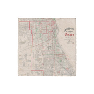 Vintage Old Map of Chicago - 1893 Stone Magnet