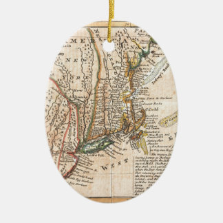 vintage old map of new york america Double-Sided oval ceramic christmas ornament