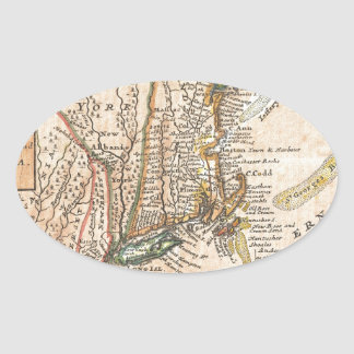 vintage old map of new york america oval sticker
