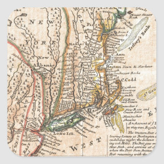 vintage old map of new york america square sticker