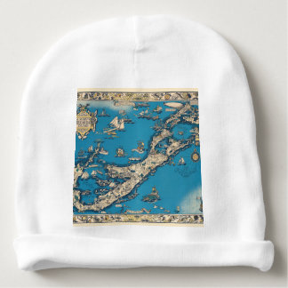Vintage Old Map of the Bermuda Islands Baby Beanie