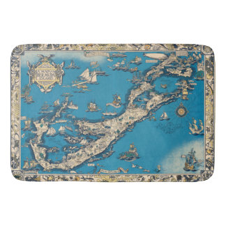 Vintage Old Map of the Bermuda Islands Bathroom Mat