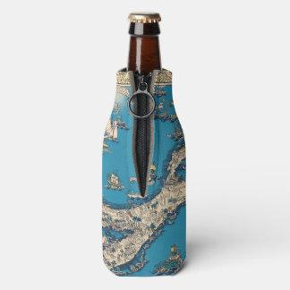 Vintage Old Map of the Bermuda Islands Bottle Cooler