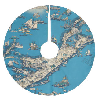 Vintage Old Map of the Bermuda Islands Brushed Polyester Tree Skirt