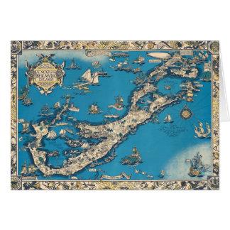Vintage Old Map of the Bermuda Islands Card