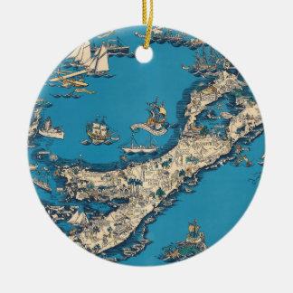 Vintage Old Map of the Bermuda Islands Ceramic Ornament