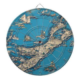 Vintage Old Map of the Bermuda Islands Dart Boards