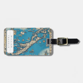 Vintage Old Map of the Bermuda Islands Luggage Tag