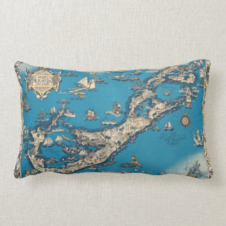 Vintage Old Map of the Bermuda Islands Lumbar Pillow
