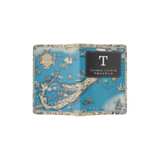 Vintage Old Map of the Bermuda Islands Passport Holder