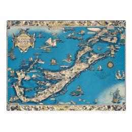 Vintage Old Map of the Bermuda Islands Postcard