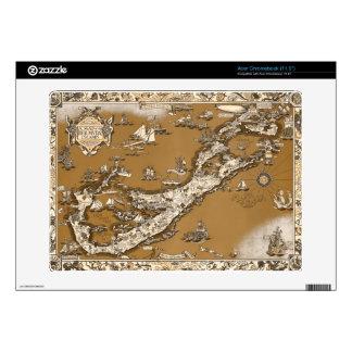 Vintage Old Map of the Bermuda Islands Sepia Tone Acer Chromebook Skin