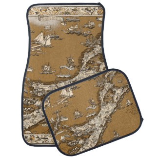 Vintage Old Map of the Bermuda Islands Sepia Tone Car Mat
