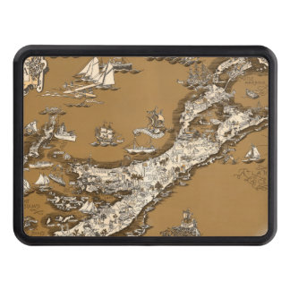 Vintage Old Map of the Bermuda Islands Sepia Tone Hitch Cover