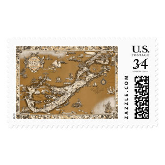 Vintage Old Map of the Bermuda Islands Sepia Tone Postage