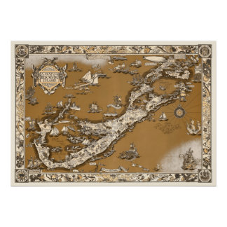 Vintage Old Map of the Bermuda Islands Sepia Tone Poster