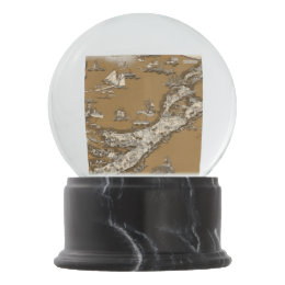Vintage Old Map of the Bermuda Islands Sepia Tone Snow Globe