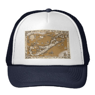 Vintage Old Map of the Bermuda Islands Sepia Tone Trucker Hat