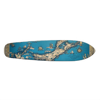 Vintage Old Map of the Bermuda Islands Skateboard