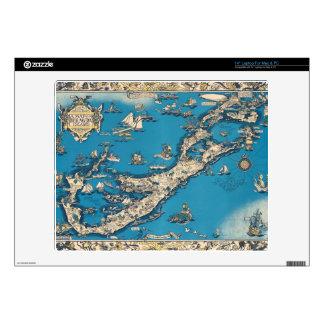 Vintage Old Map of the Bermuda Islands Skins For Laptops