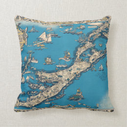 Vintage Old Map of the Bermuda Islands Throw Pillow
