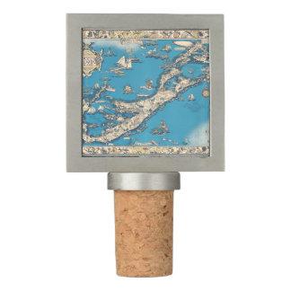 Vintage Old Map of the Bermuda Islands Wine Stopper