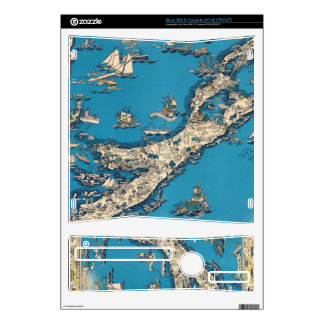 Vintage Old Map of the Bermuda Islands Xbox 360 S Console Decal