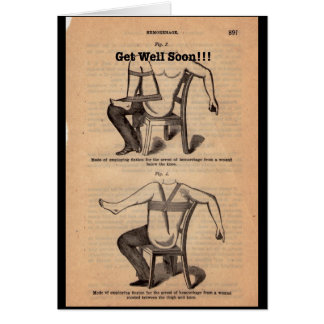 Vintage Old Medical Book Pages Get Well Soon Card