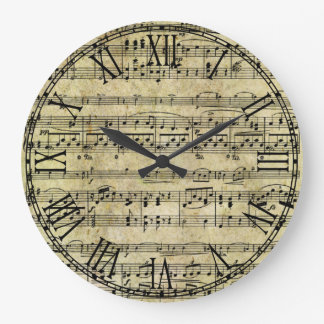 Vintage Old Music Notes Paper Texture Large Clock