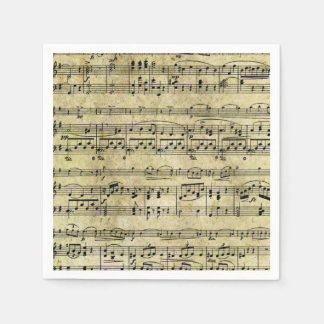 Vintage Old Music Notes Paper Texture Paper Napkin