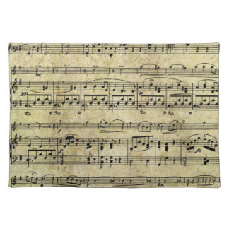 Vintage Old Music Notes Paper Texture Place Mats