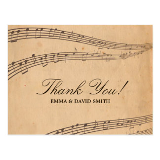 Vintage Old Music Notes Thank You Cards