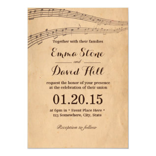 Vintage Old Music Notes Wedding Invitations at Zazzle