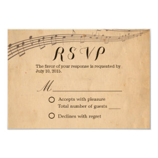 Vintage Old Music Notes Wedding RSVP Card at Zazzle