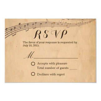 Vintage Old Music Notes Wedding RSVP Card