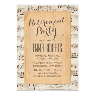 Vintage Old Music Sheet Musical Retirement Party 5x7 Paper Invitation Card