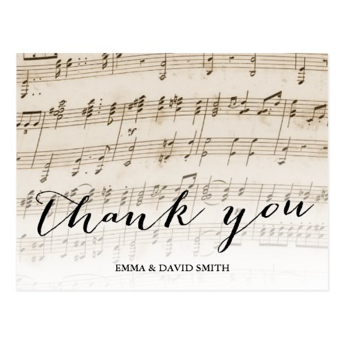 Vintage Old Music Sheet Wedding Thank You